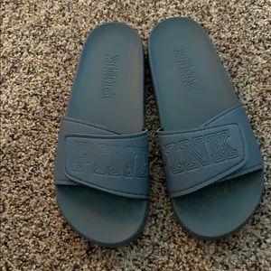Pink Velcro Slides Grey Medium 8/9